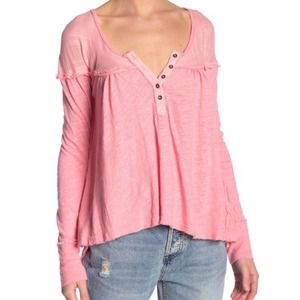 Free People Sugar Coral Down Under Henley Top sz S